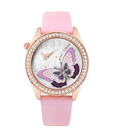 Women's 3D Layered Butterfly Motif Dial Pink Polyurethane Strap Bracelet Watch 40mm