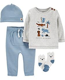 Baby Boys 4-Pc. Little Animals Cotton Take-Me-Home Set