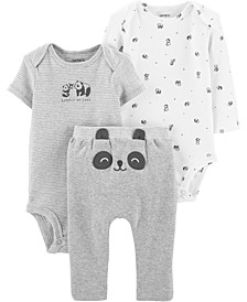 Baby Boys or Girls 3-Pc. Panda Cotton Bodysuits & Pants Set