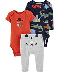 Baby Boys 3-Pc. Wild One Cotton Bodysuits & Pants Set
