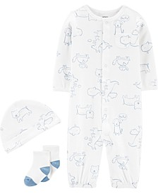 Baby Boys 3-Pc. Puppy-Print Cotton Coverall, Hat & Socks Set