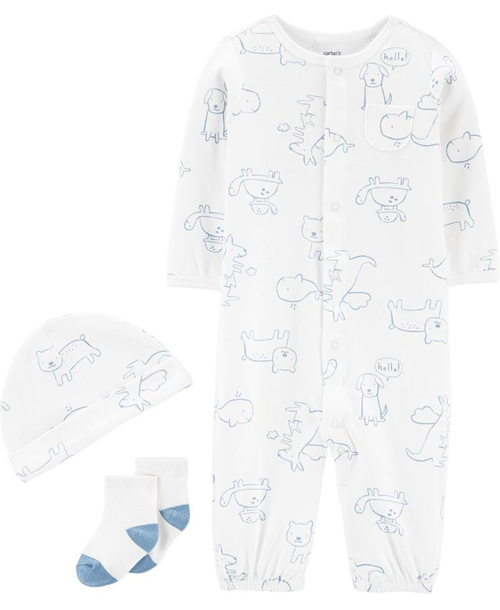 Carter's - Baby Boys 3-Pc. Puppy-Print Cotton Coverall, Hat & Socks Set