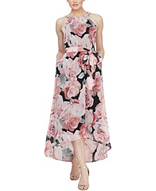 Floral-Print High-Low Maxi Dress