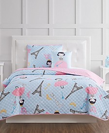 Paris Princess Full 4 Piece Quilt Set