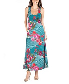 Sleeveless Floral Print Maxi Dress with Pockets