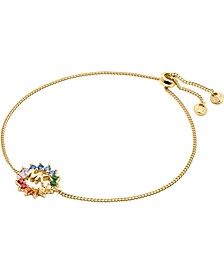 14k Gold-Plated Sterling Silver Multicolor Cubic Zirconia Logo Slider Bracelet