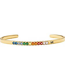 14k Gold-Plated Sterling Silver Multicolor Cubic Zirconia Cuff Bracelet
