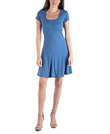 Cap Sleeve Knee Length Mini Dress with Godets