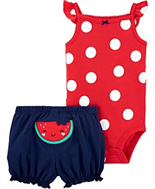 Baby Girls 2-Pc. Polka Dot Bodysuit & Watermelon Shorts Set