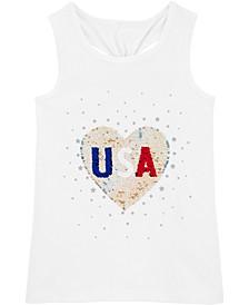 Little Girls Glitter USA Tank