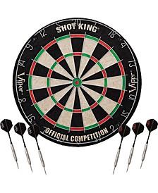 """42-6002 Shot King 18"""" Bristle Sisal Fiber Dart Board with 6 Darts"""