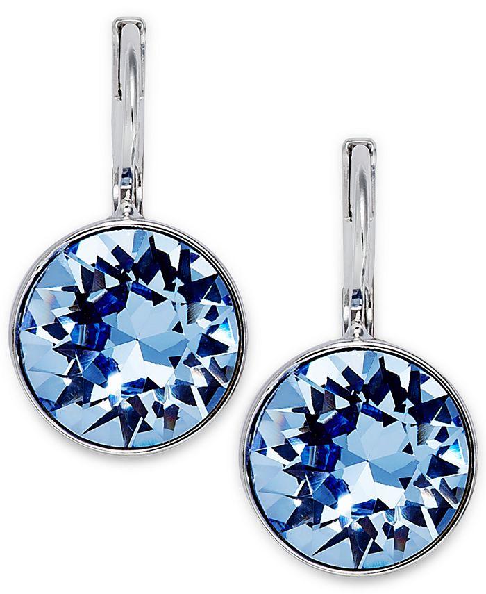 Swarovski - Earrings, Rhodium-Plated Light Sapphire Crystal Drop Earrings