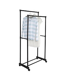 "62"" x 29"" Black Rolling Double Bar Garment Rack"