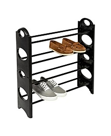 4-Tier Black Lightweight Plastic Shoe Rack with Circle Patterns