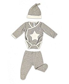 Baby Boys Bamboo 3 Piece Star Embroidery Newborn Set