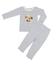 Toddler Boys and Girls Bamboo Long Sleeve 2 Piece Dream Big Pajamas Set
