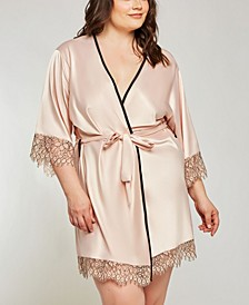 Women's Contrast Silky Robe with Eyelash Flower Lace