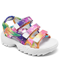 Fila Little Girls Disruptor Tie-Dye Athletic Sandals from Finish Line