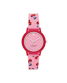 Morningside Pink Cherry-Print Silicone Watch, 30MM