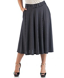 Women's Plus Size Polka Dot Midi Skirt