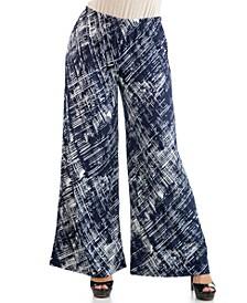 Women's Plus Size Weave Print Palazzo Pants