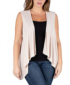 24seven Comfort Apparel Women's Plus Size Open Front Cardigan Vest