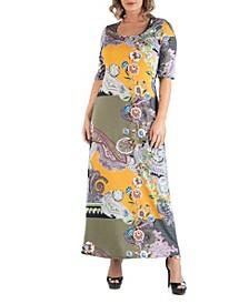 Women's Plus Size Maxi Print Dress
