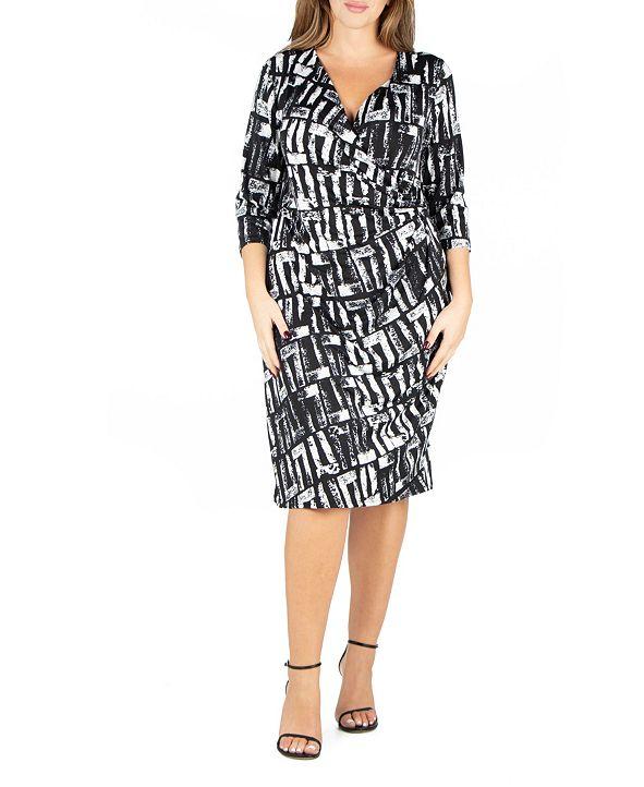 24seven Comfort Apparel Women's Plus Size Faux Wrap Dress