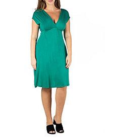24seven Comfort Apparel Women's Plus Size Short Sleeve Empire Waist Dress