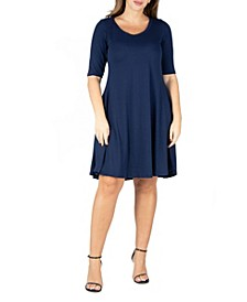 Women's Plus Size Elbow Sleeve Dress