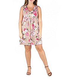 Women's Plus Size Floral Empire Waist Sleeveless Party Dress