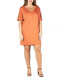 Women's Plus Size V-neck Loose Fit Resort Dress