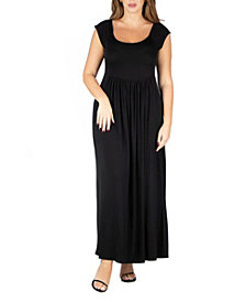24seven Comfort Apparel Women's Plus Size Cap Sleeve Empire Waist Maxi Dress