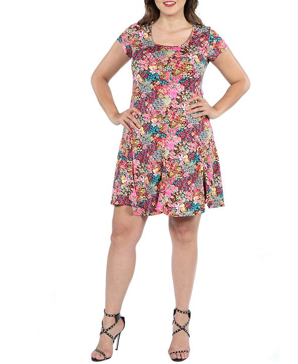 24seven Comfort Apparel Women's Plus Size Floral Short Sleeve Casual Dress
