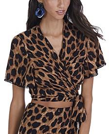 Women's Leopard Wrap Top