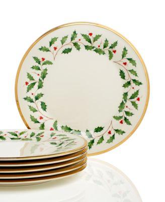 main image; main image ...  sc 1 st  Macyu0027s & Lenox Holiday Set of 6 Dinner Plates - Fine China - Macyu0027s