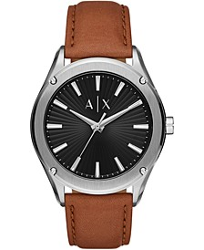 Men's Fitz Brown Leather Strap Watch 44mm