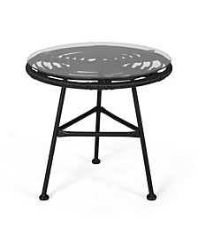 Orlando Outdoor Woven Side Table with Glass Top