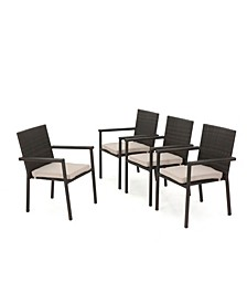 San Pico Outdoor Armed Dining Chairs with Textured Cushions, Set of 4