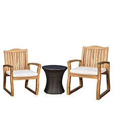 Avalon Outdoor 3 Piece Chat Set with Hourglass Table