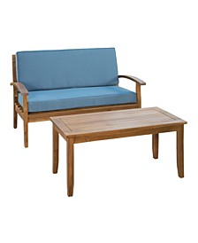 Peyton Outdoor Loveseat and Table Set with Cushions