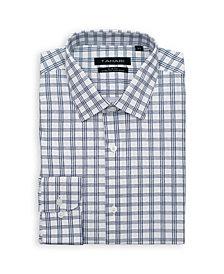 Tahari Men's Slim Fit Non-Iron, Wrinkle Resistant Performance Stretch Dress Shirt - Checkered