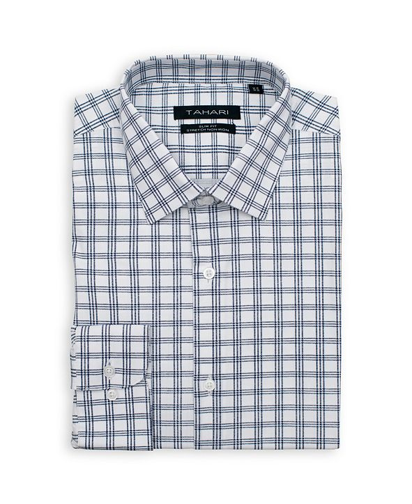 Tahari Men's Slim Fit Non-Iron, Wrinkle Resistant Performance Stretch Dress Shirt - Checkered