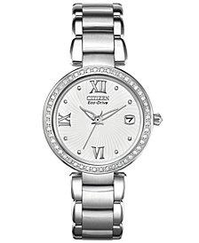 Citizen Women's Eco-Drive Signature Diamond Accent Stainless Steel Bracelet Watch 33mm EO1100-57A