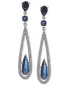 Carolee Earrings, Silver-Tone Blue Glass Bead Linear Drop Earrings