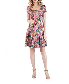 Knee Length A Line Floral Print Maternity Dress