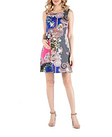 Multiprint Pattern Sleeveless Shift Maternity Dress