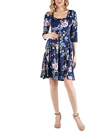 Fit and Flare Floral Print Maternity Dress