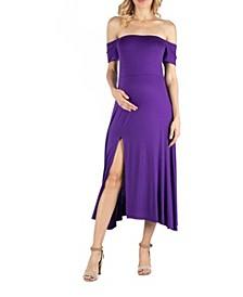 Off Shoulder Soft Flare Maternity Midi Dress with Side Slit