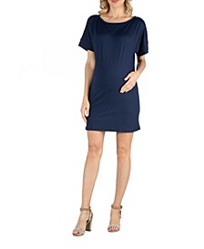 Loose Fit Dolman Sleeve Maternity Dress with Scoop Neckline